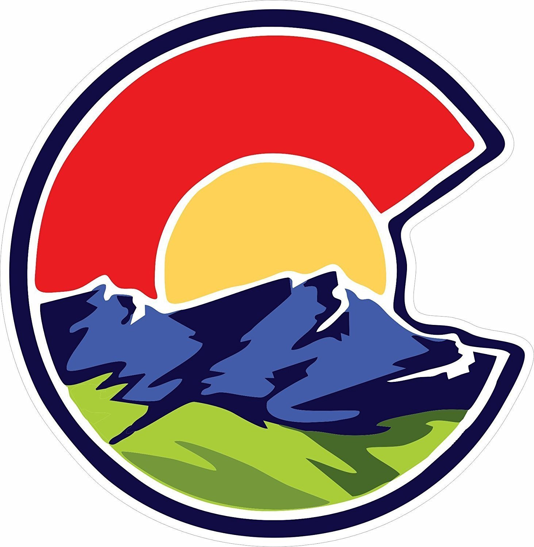 Amazon com unameit colorado c nature sticker colorado stickers colorado flag sticker sports outdoors