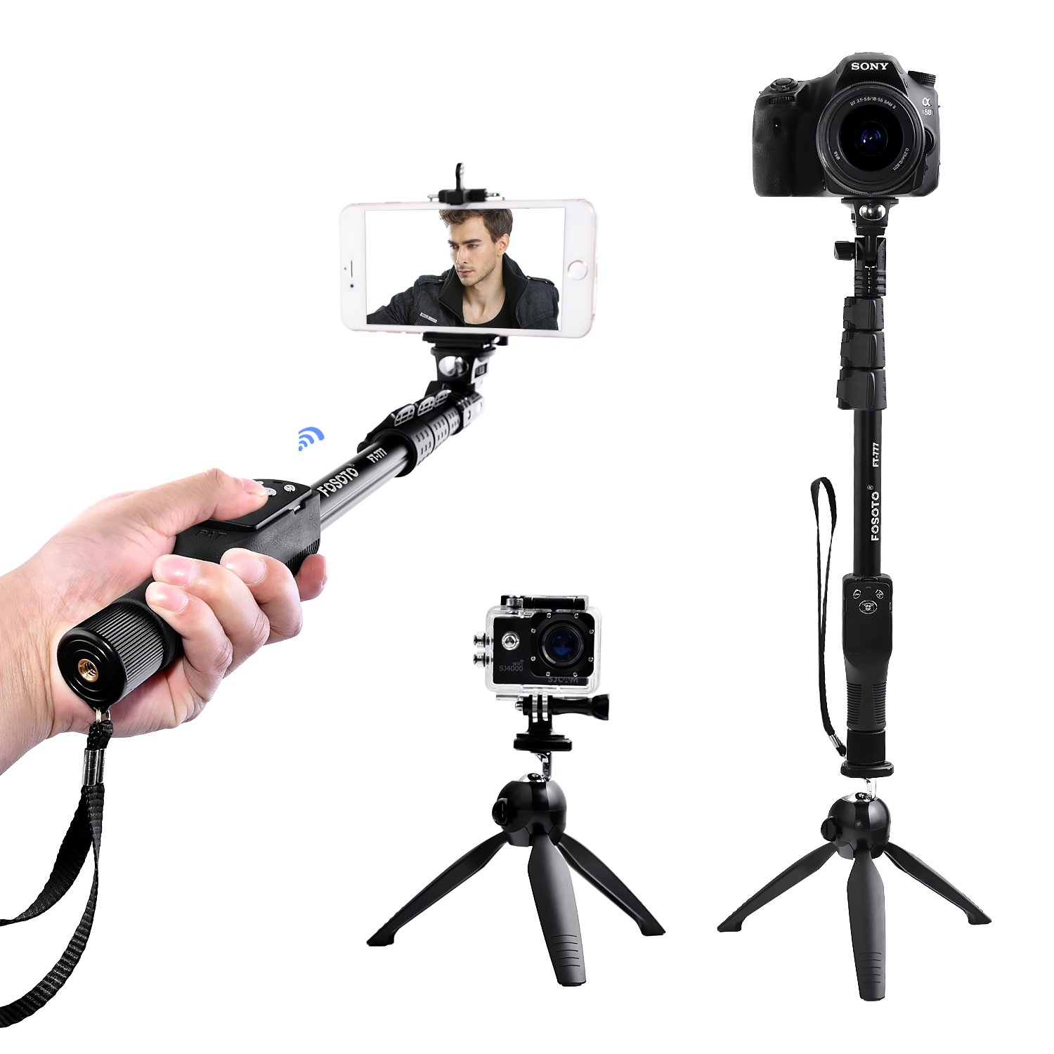 FOSOTO Selfie Stick Tripod with Bluetooth Remote for iphone X 8 7 6 Plus, Samsung Galaxy, Android, GoPro, Camera
