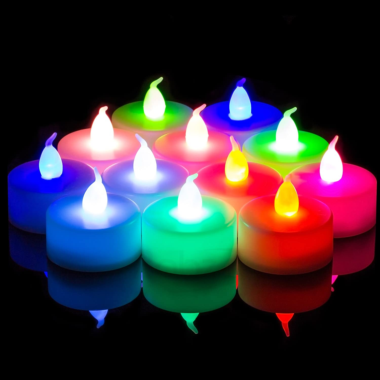 Babz® 12 x Colour Changing LED Flickering Candle Set Battery Operated - Flickers Like a Real Candle Battery Operated Tealight Candles Flameless Candle Wedding Tea Light