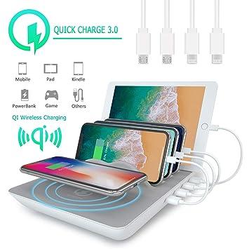 KidsHobby Estación de Carga USB con 4 Puertos con Qi Cargador Inalambrico Base de Carga para iPhone X/iPhone 8/7s/6s,Samsungs,Huawei,Tabletas - ...