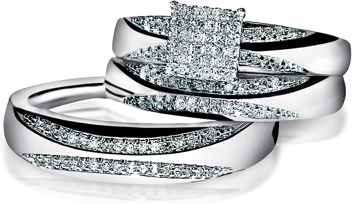It is a picture of Trio set White Gold wedding ring men women real diamond 47/47ctw