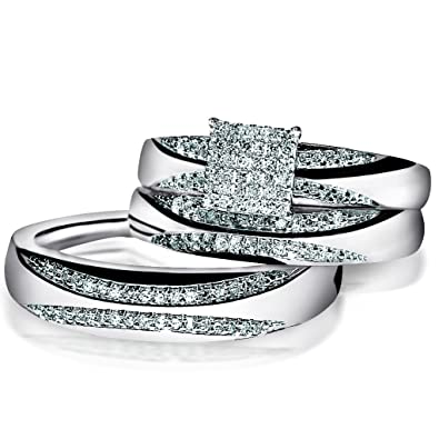 Trio set White Gold wedding ring men women real diamond 13ctw pave