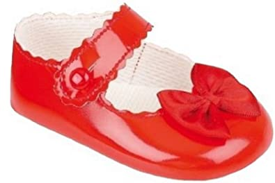 cd41ae3e4a10 Baby Girl Patent Dress Shoes with Satin Bow Red 2 M Infant 3-6 Months