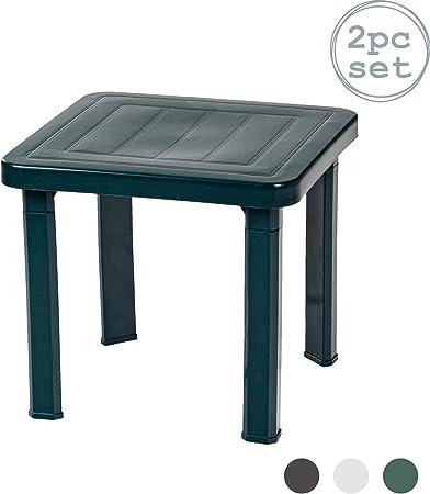 Resol Andorra plástico Inicio Jardín Mesa Side - Verde - 47 x 47 cm - Pack de 2: Amazon.es: Hogar