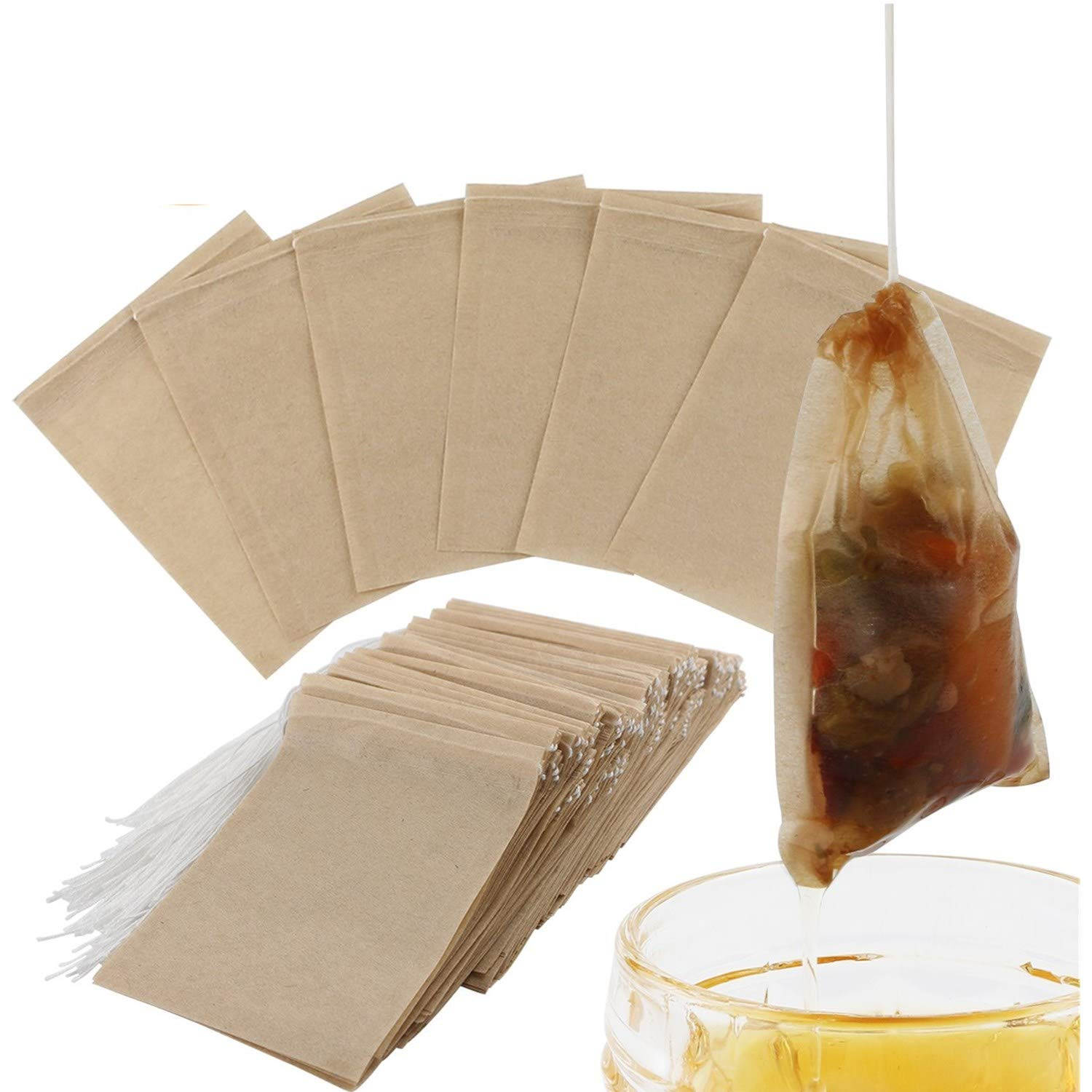 300PCS Tea Filter Bags, Disposable Paper Tea Bag with Drawstring Safe Strong Penetration Unbleached Paper for Loose Leaf Tea and Coffee by BEEHOME (Image #1)