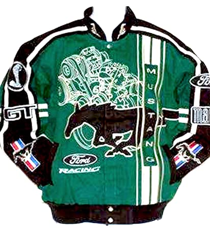 Amazon Com Ford Mustang Gt Mach  Cobra Racing Jacket Green Legendary Muscle Jacket Size Xl New With Tags Sports Outdoors