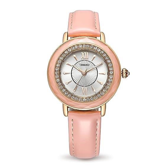 Time100 Reloj Rosa Moderno con Rueda de Brillantes de Pulsera para Mujer: Amazon.es: Relojes