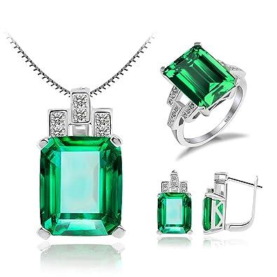 ba4bdc18e274 JewelryPalace Lujo 19.5ct Creado Verde Nano Joyería De Esmeralda De Ruso  Conjuntos Anillo De Cóctel Pendiente Collar Clip De Pendientes De Plata De Ley  925 ...