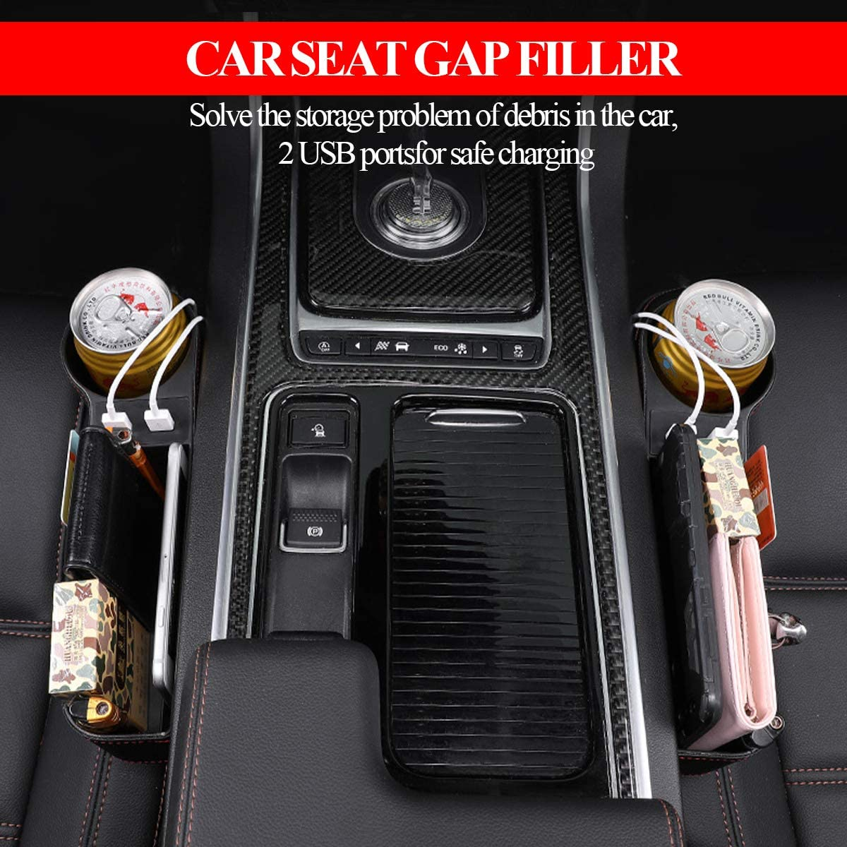 Car Seat Gap Organizer Multifunctional Car Seat Filler Leather Storage Box with Cup Holder Dual USB Charging for Cellphones,Keys,Cards,Wallets