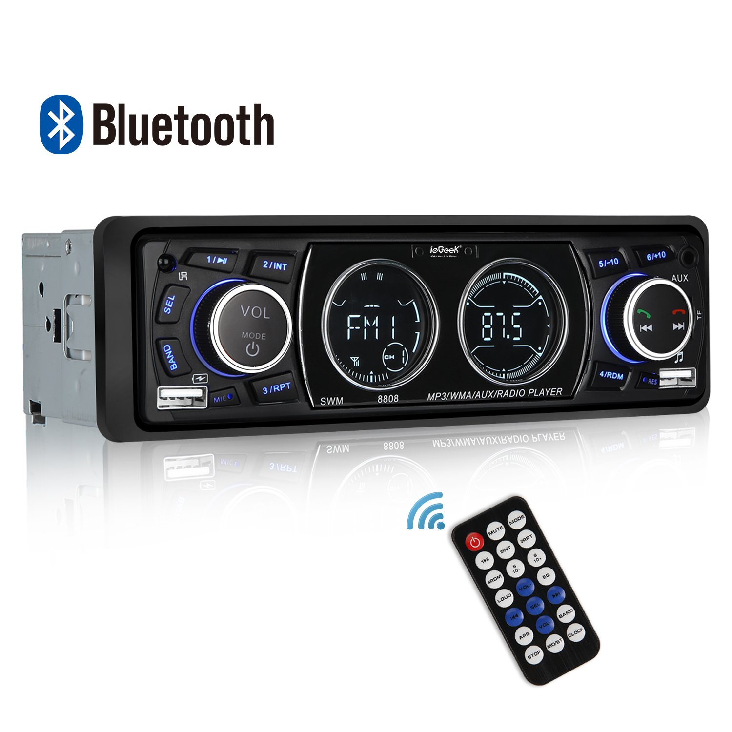 Autoradio Bluetooth Coche, ieGeek Autoradio Bluetooth Manos Libres, USB/SD/AUX/