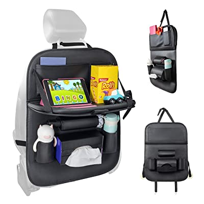HEYLOVE Car Backseat Organizer with Tablet Holder and Foldable Tray, Durable Quality Seat Covers,Luxury PU Leather Car Seat Back Organizer for Baby and Kids: Automotive