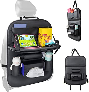 Durable Quality Seat Covers PU Leather Car Seat Back Organizer,Travel Accessories Organizer. HEYLOVE Car Seat Protector seat back Organizer with Tablet Holder and Foldable Tray Black