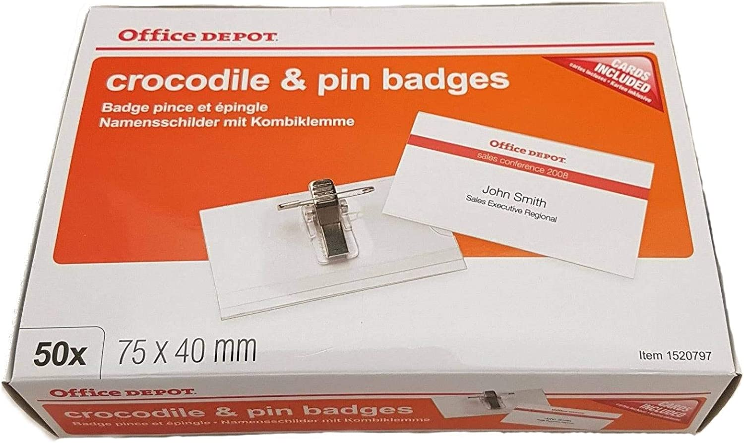 Package 1520797 Clip Office Depot 75/x 40/mm 50 niceday Identifiers with Pin