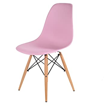 HNNHOME Eames Inspired Eiffel DSW Dining Plastic Chairs Modern Lounge  Office Furniture Pink