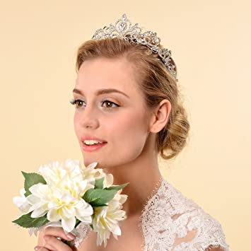 Amazoncom Topwedding Rhinestones Wedding Crown Crystal Bridal
