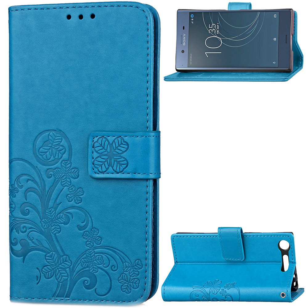 Sony Xperia XZ1 Wallet Case, NOMO Floral Lucky Flower Slim PU Leather with Credit Card Slot Magnetic Closure Flip Wallet Phone Case Cover for Sony Xperia XZ1 Blue