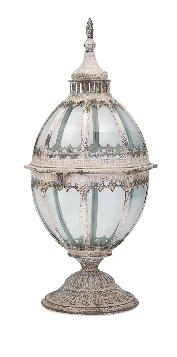 IMAX 89367 Casual/Transitional Candle Lantern, Weathered White E-Commerce Lighting