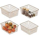 Wire Storage Basket, Packism 4 Pack Metal Household Storage Organizer Wire Baskets for Freezer, Pantry, Kitchen Cabinet, Bath