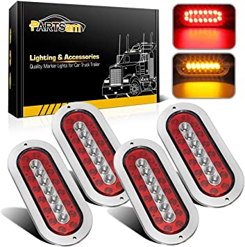 """4pcs 6/"""" 25 LED Clear Red Tail Brake Stop Parking TMH Light for 12V Truck Trailer"""