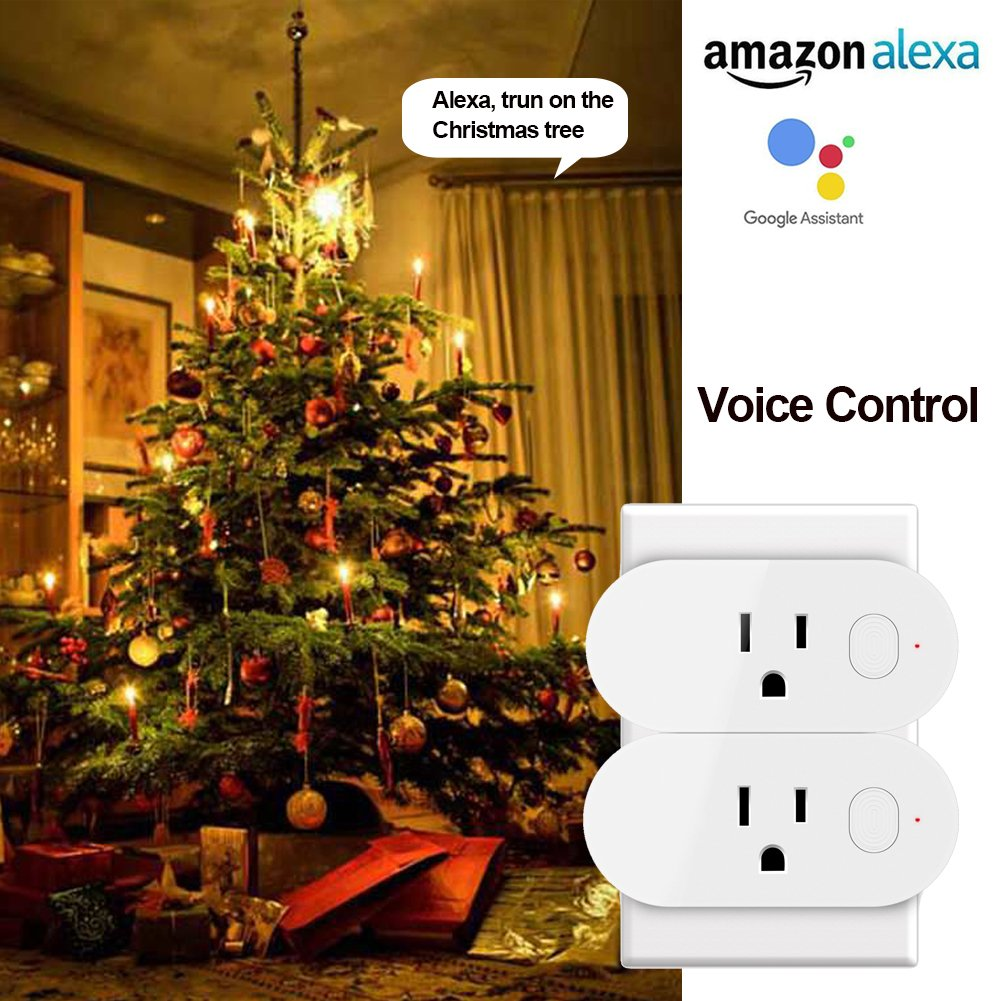 AMPLER Wifi Smart Plug Mini Multi-function Outlet Work with Amazon Alexa and Google Assistant (16A, 2Pack)