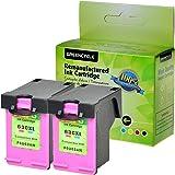 GREENCYCLE 2 Pack Remanufactured 63xl F6U63A Tri-Color Ink Cartridge Replacement for HP DeskJet 2130 DeskJet 2131 (Color, 2 Pack)