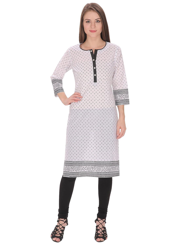 7bd76b2018b Tanvi White Cotton Kurti For Women s(TF-17)  Amazon.in  Clothing    Accessories