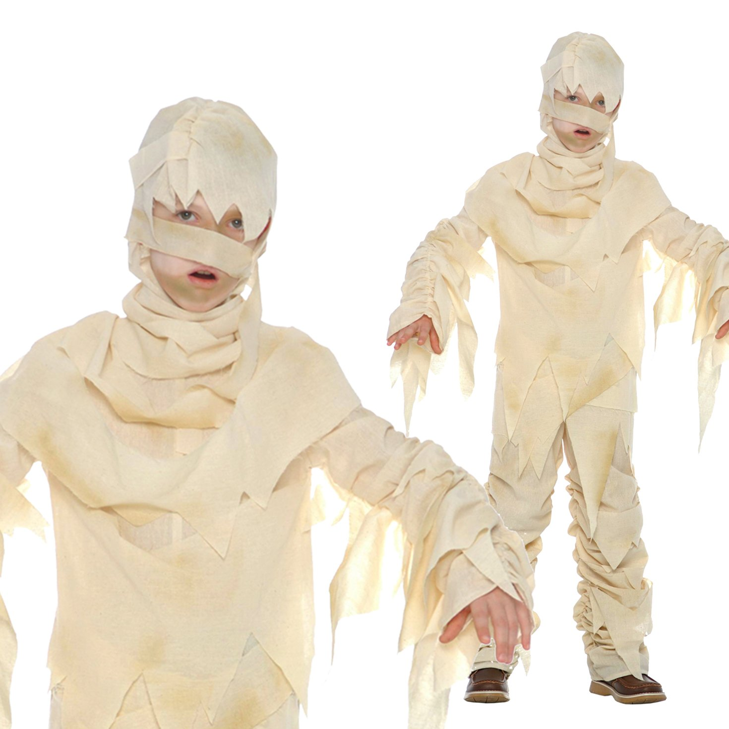 Boys Mummy Costume Kids Ancient Egypt Childs Egyptian Bandaged Fancy Dress