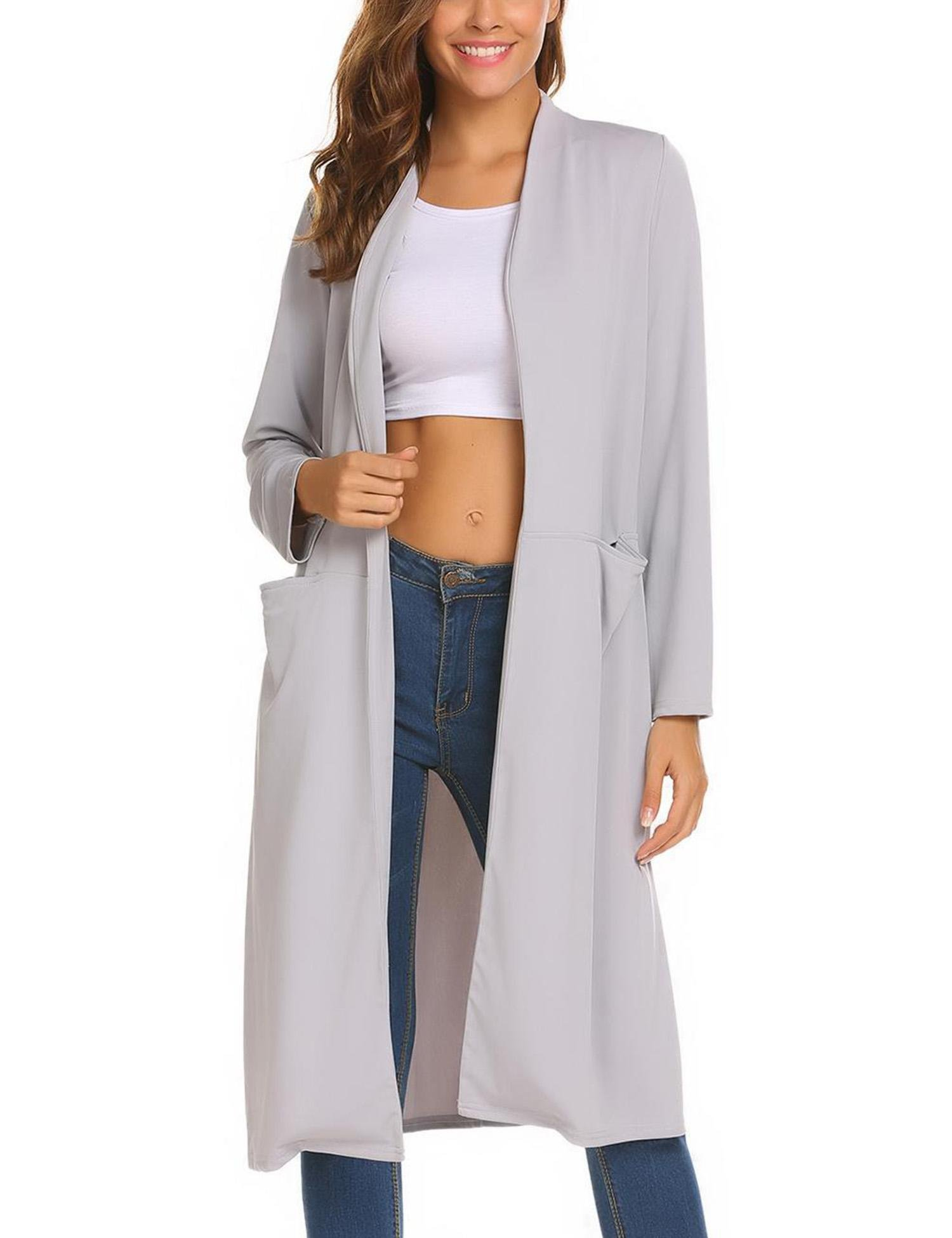 OD'lover Women's Open Front Long Trench Coat Casual Lightweight Blazer Cardigans