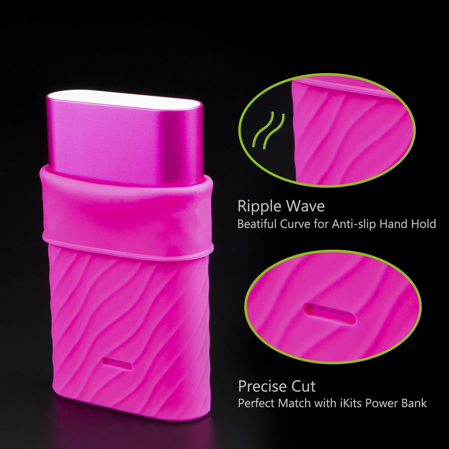 iKits Protective Case 10200mAh Portable Charger, Fast Charge Power Bank Silicone Case, Ripple Wave Design, Precise LED Lights Cut, Colorful Choices for 10000mAh Batter Pack (Rose Red) by iKits (Image #4)