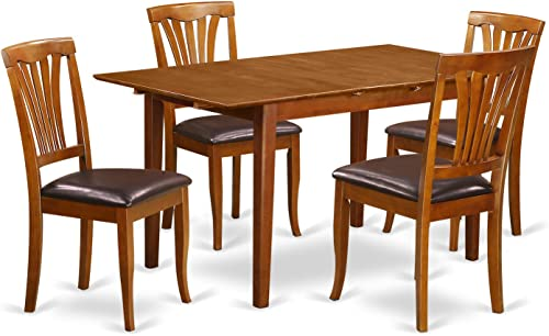 PSAV5-SBR-LC 5 PC small Kitchen Table set – Table with Leaf and 4 Chairs for Dining room