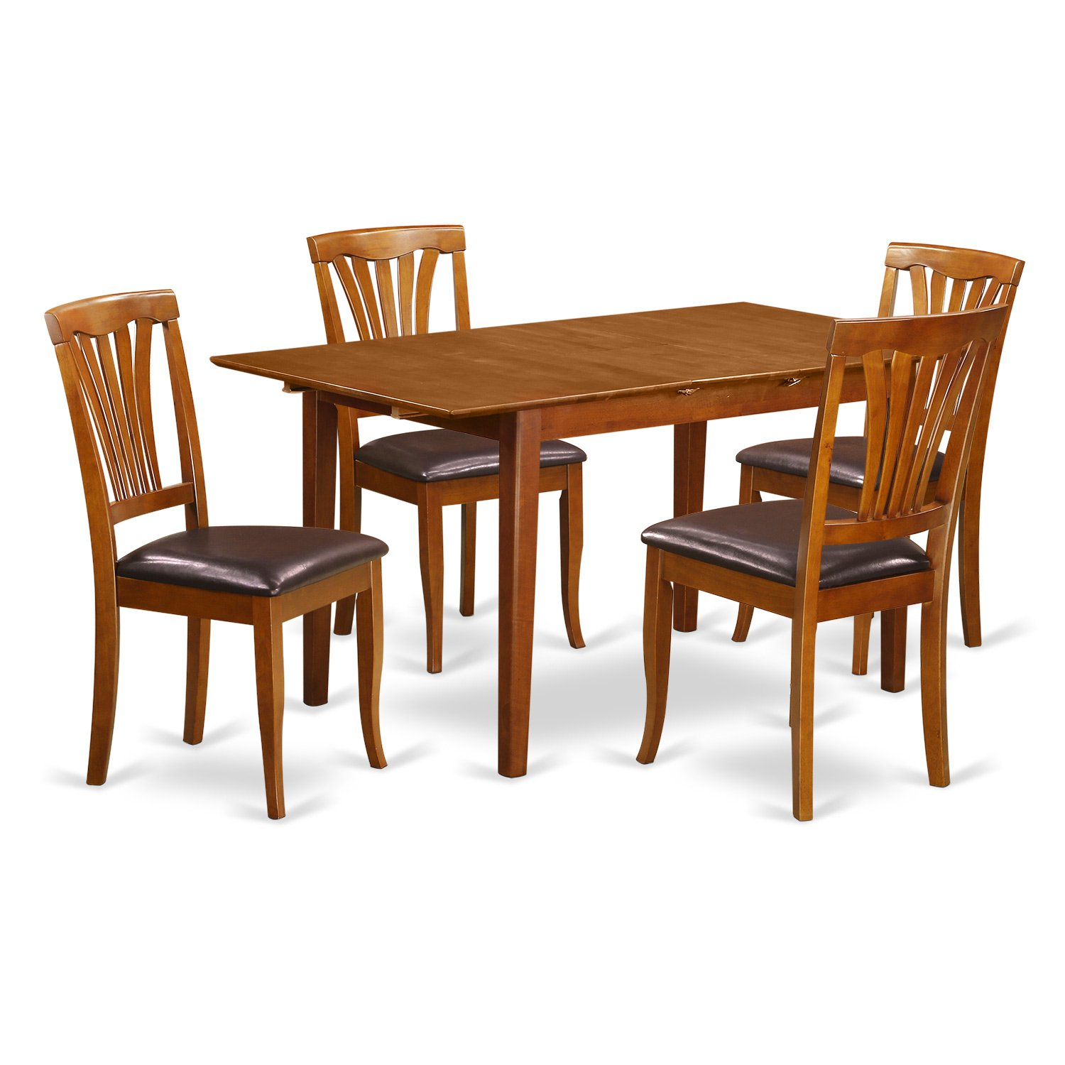 PSAV5-SBR-LC 5 PC small Kitchen Table set - Table with Leaf and 4 Chairs  for Dining room