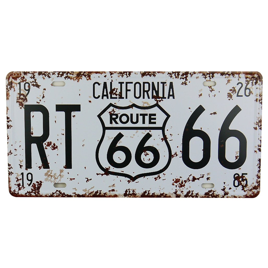 MS Route 66 Tin Poster Metal License Plate Home Bar Decor Metal White Sign CJ574-A MAGIC SHOW