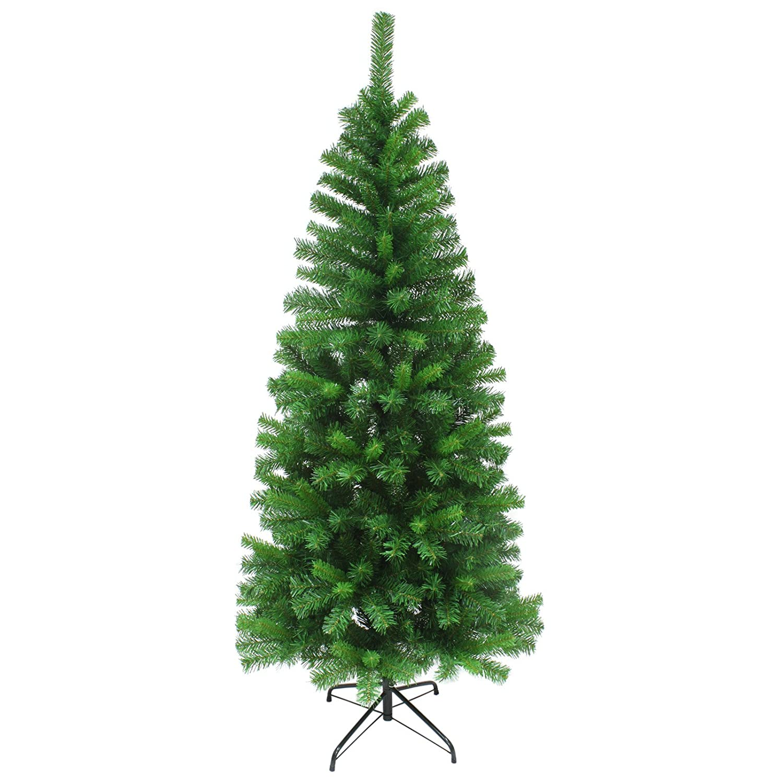Mr Crimbo 4ft Slim Artificial Pine Christmas Tree Traditional Indoor Xmas Decoration