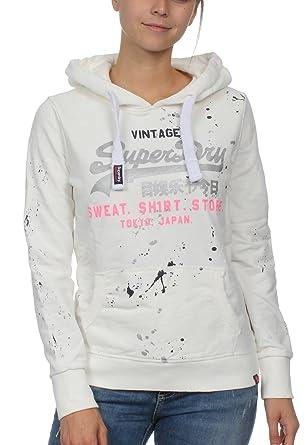 Superdry Sweater Damen Vintage Logo Splat LITE Hood Chalk