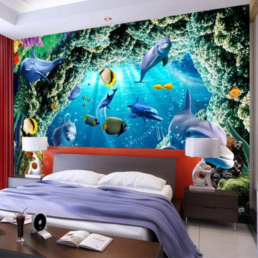 Afashiony 3D Wandbild Tapete Unterwasser Tier Delphin Cave Moderne Wohnzimmer Schlafzimmer Poster Wand K/ünstler Wohnwand Dekoration Fototapete-78.8X 55.1Inch