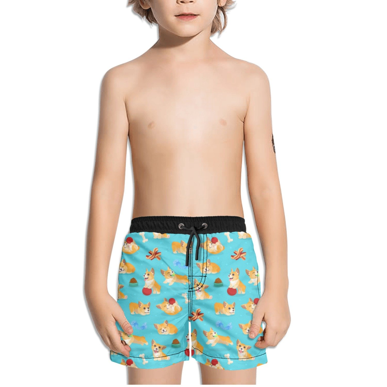 Trum Namii Boys Quick Dry Swim Trunks Funny Corgi Shorts