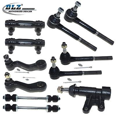 DLZ 11 Pcs Front Suspension Kit-2 Inner 2 Outer Tie Rod Ends 2 Adjusting Sleeve 2 Sway Bar 1 Idler Arm 1 Idler Arm Bracket Assembly 1 Pitman Arm for 1993-2000 Chevrolet GMC K1500 K2500 K3500