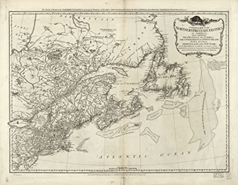Map Of New York And Quebec.Amazon Com Vintage 1776 Map Of Northern British Colonies In America