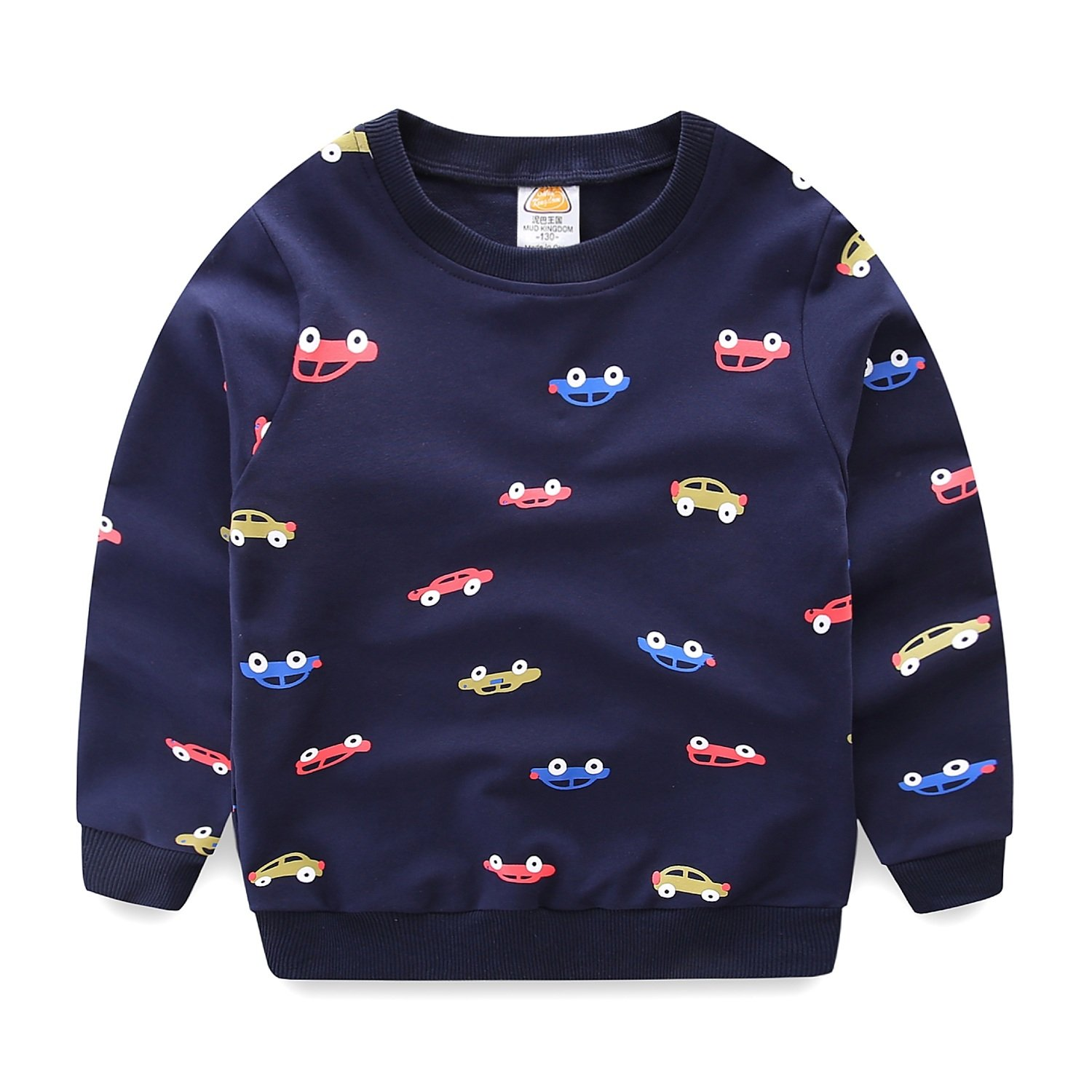 Mud Kingdom Boys Cars Sweatshirts Cute Long Sleeve Tops