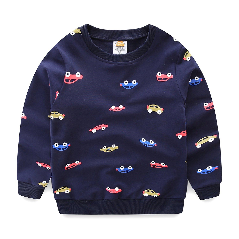 Mud Kingdom Little Boys Cars Sweatshirts Cute Long Sleeve Tops 5 Navy Blue