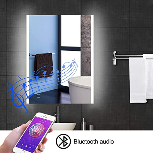 Frivity 24×32 inch Bathroom Vanity Mirror with LED, Wall Mount Bluetooth Speaker Dimming LED Waterproof Smart Touch Switch Control Bathroom Mirror, Multi-Function Illuminated Make-up Vanity Mirror