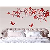 LA VIE Sticker mural étanche avec papillons et fleurs rouge très magnifique décor mur autocollant