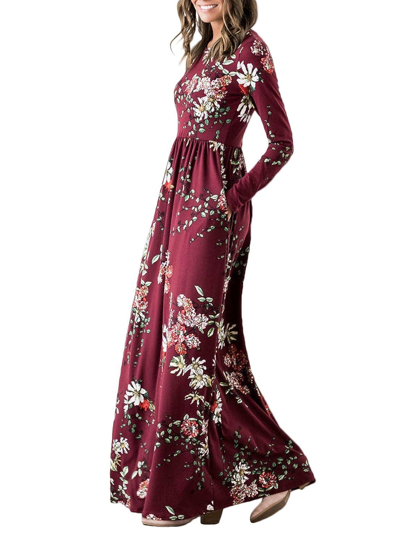 385b626d528 ZESICA Women s Floral Print Long Sleeve Pockets Empire Waist Pleated Long  Maxi Dress at Amazon Women s Clothing store