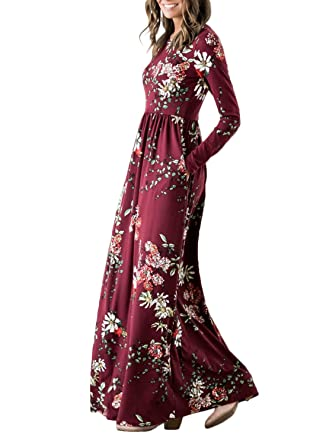 959f651365 ZESICA Women s Floral Print Long Sleeve Pockets Empire Waist Pleated Long  Maxi Dress