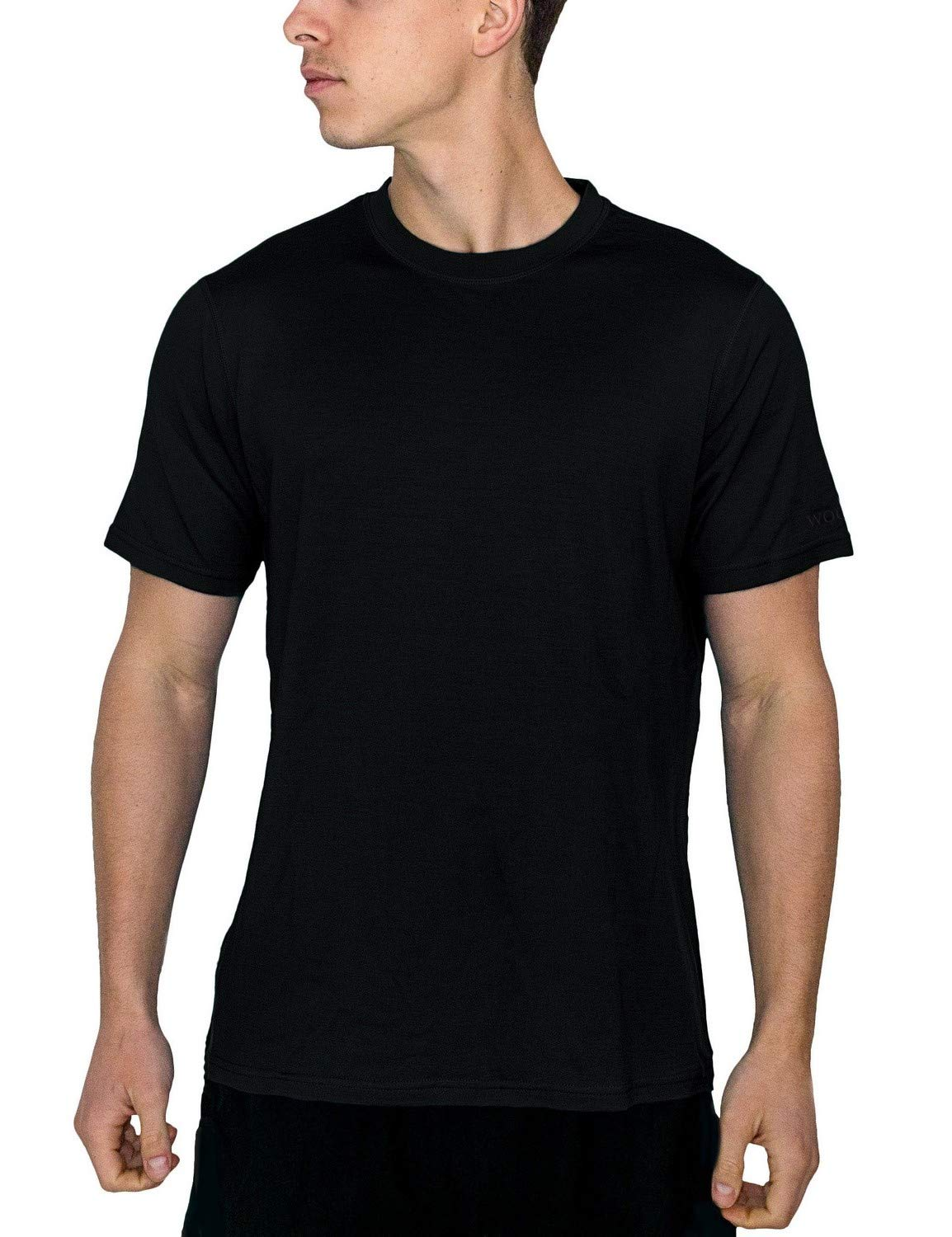 Woolx Men's Endurance Lightweight Extremely Durable Merino Wool Tee Wicks Away Moisture, Black, Medium