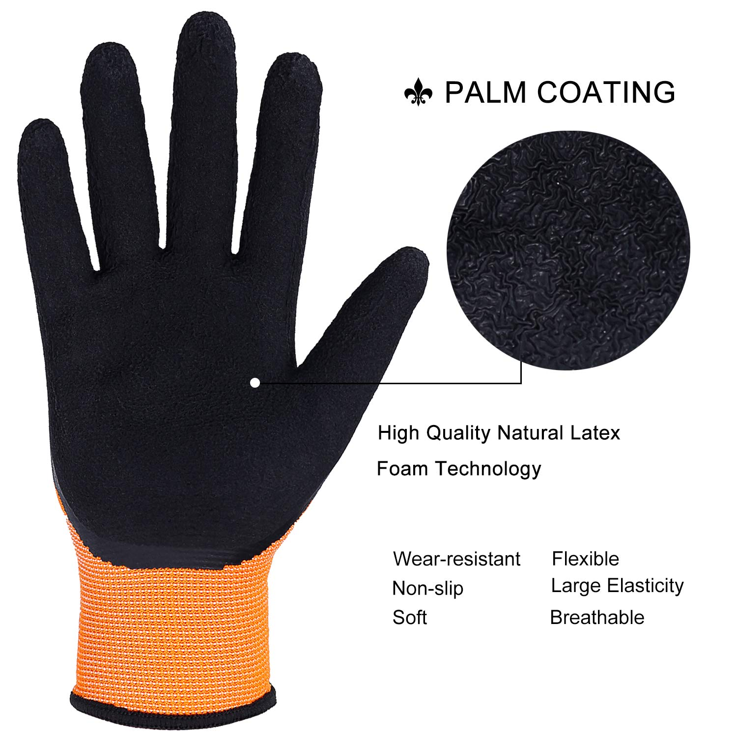 FWPP High Visibility Nylon Latex Foam Coated Work Gloves,Breathable Soft Wearproof Non-slip Comfortable Safety Protective Glove Pack of 12Pairs Large Fluorescence Orange by FWPP (Image #1)