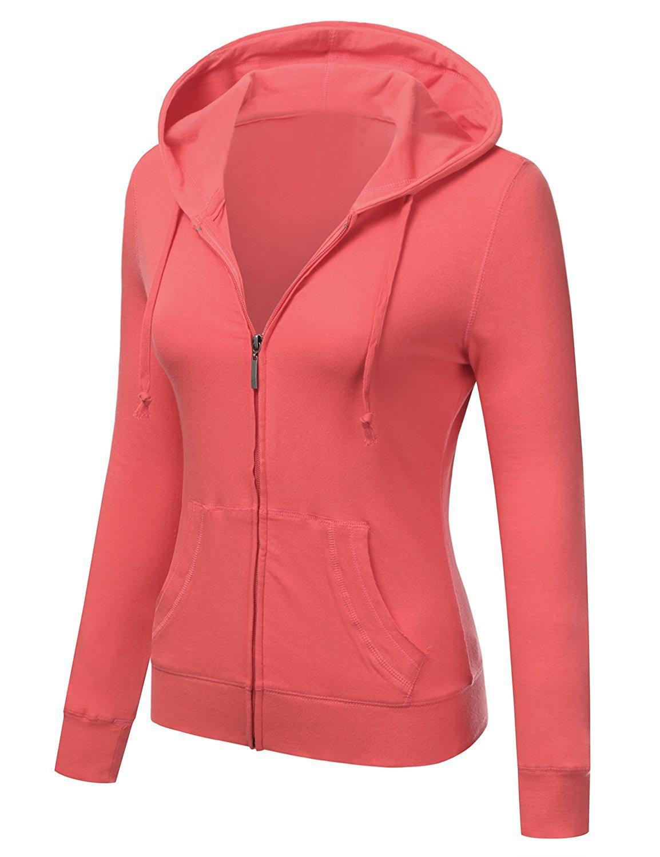 ClothingAve. Women's Basic Solid Knit Long Sleeve Zip up Hoodie Jacket (Medium, Coral) by ClothingAve. (Image #2)