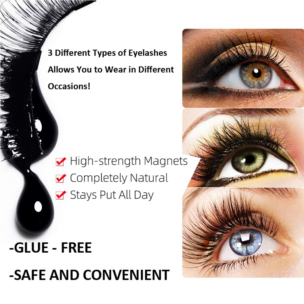 Upgraded Magnetic Eyeliner and Lashes, Magnetic Eyelashes with Eyeliner Kit, 3 Styles Magnetic Lashes, Reusable Silk False Magnetic Eyelashes, No Glue Needed, Easier To Use Than Traditional Eyelashes