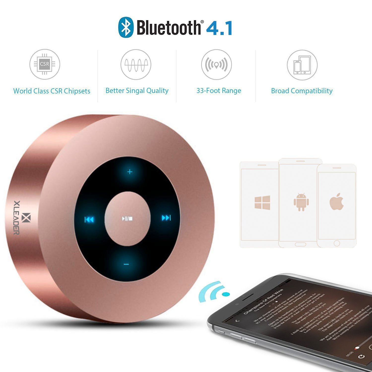 [LED Touch Design] Bluetooth Speaker, XLeader Portable Speaker with HD Sound / 12-Hour Playtime / Bluetooth 4.1 / Micro SD Support, for iphone/ipad/Tablet/Laptop/Echo dot (Rose gold) by XLeader (Image #3)