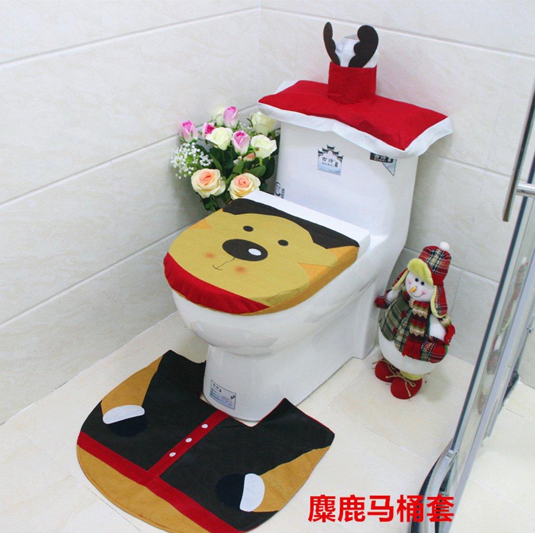 Christmas Decorations Snowman Santa Elk Genius Toilet Seat Cover and Rug Set for Bathroom By Hi Suyi NingboshuyioutdoorproductsCo.Ltd